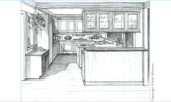 Kitchen Drawing Perspective kitchen perspective drawingkitchenplans