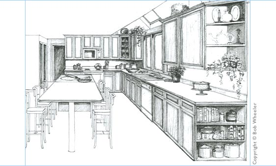 Kitchen Drawing Perspective
