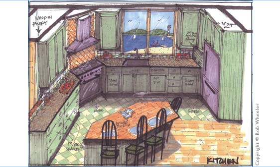 Kitchen Perspective Drawing